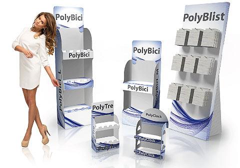 Espositori per prodotti, relizzati in materiale plastico (PP ondulato), da terra e da banco, con ripiani e personalizzabili con stampa a colori.