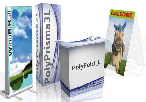 Espositori pubblicitari da esterno , Outdoor rollup, Totem da esterno, Portadepliant in alluminio, personalizzati con stampa digitale.
