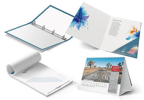 Sezione del sito dedicata a prodotti di stampa complessi e personalizzati, raccoglitori ad anelli, cartelline, calendari, bloc notes di cui puoi realizzare il preventico al miglio prezzo.