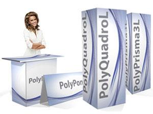 Totem ed espositori pubblicitari realizzati in polionda, personalizzati con la tua stampa.