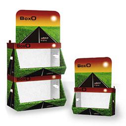 Espositore Prodotti modulare ;  Cartone microtriplo rivestito  ;   Cassetti con portata di 8kg ;  Stampato o in tinte standard ;  Box S formato 44x32x30cm