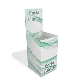 Espositore per libri con vasca risvoltata ideale per esposizione di due libri in vericale affiancati.  ;Disponibile stampato o in tinte standard con crowner pubblicitario personalizzato.