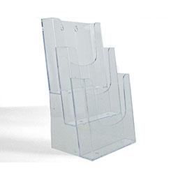 Polistirolo trasparente ;  3 Tasche porta depliant ;