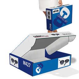 Scatola automontante senza incollaggi in cartone bianco micro onda E da 1,5 mm, personalizzabile con stampa a colori, misure personalizzate sulle vostre esigenze.