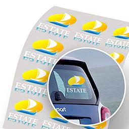 Etichette adesive trasparenti, stampabili dritte o rovesciate, con e senza bianco per vetrofanie.Disponibili con adesivi removibili, permanenti, ultraremovibili ed attacca e stacca.