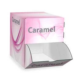 Dispenser da banco per prodotti non inscatolati come caramelle o cioccolatini. ;Realizzato in cartone microonda, stampato con la vostra grafica.  ; Realizzabile anche su misure diverse a richiesta.