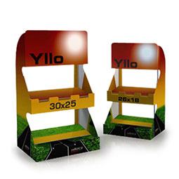 Espositori economici  da banco, realizzati in unico pezzo con cartone microonda rivestito. Si configura con due ripiani ed un crowner pubblicitario.Disponibile in due misure.