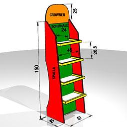 Elegante espositore  a ripiani, realizzato in cartone microtriplo e microonda  con ripiani scatolati di portata 4kg e dotati di spondina. Può essere prodotto interamente stampato o con la personalizzazione parziale di crowner, spalle o ripiani.