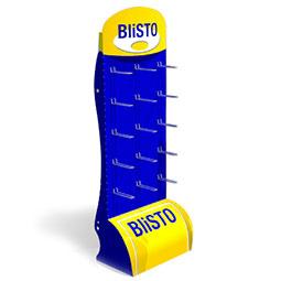 Espositore Portablister modulare ;  Quantità e posizione ganci a richiesta ;   Cartone rivestito ;  Stampato o in tinte standard ;  Completo di scatola in cartone