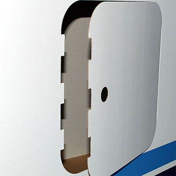 Cartone microonda rivestito  ;  Con Crowner (CR) o senza (PP) ;  Vano posteriore con sportello ;  Facilissimo montaggio e trasporto ;  Completo di scatola in cartone
