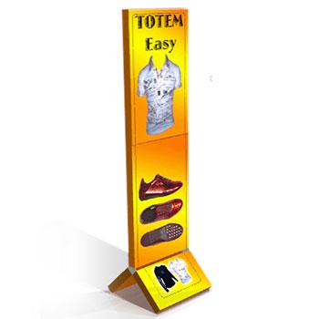 Totem pubblicitari in cartone scatolato, composto da moduli smontabili, offre un grande impatto ed una semplicità di montaggio uniche oltre ad un ingombro di trasporto ridottissimo.