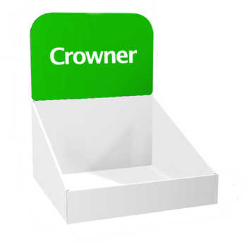 Espositore componibile per esposizione sul banco. E' possibile personalizzare la vasca con una griglia o ripiani in cartone per meglio esporre i prodotti.