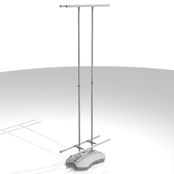 Display per esterni Bifacciale  ;  Altezza200 cm  ;  Alluminio anodizzato e PVC ;  Tanica da riempire con acqua o sabbia ;  Completo di scatola e sacca in nylon, uso in esterno anche con vento moderato.
