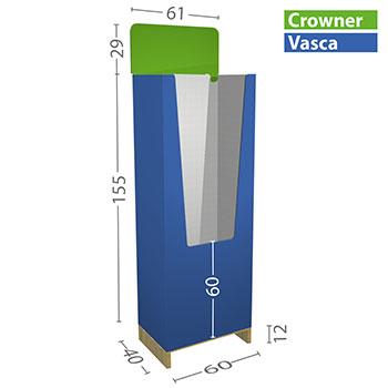 Espositore prodotti su pallet. Dimensioni standard da 1/4 (60x40cm) e 1/2 (80x60cm) e anche personalizzate a richiesta