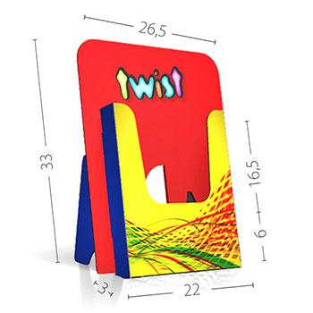 Cartello pubblicitario e portadepliant realizzato in unico pezzo su cartone microonda, particolarmente economico ed idoneo ad abbinare la comunicazione con la distribuzione di volantini.