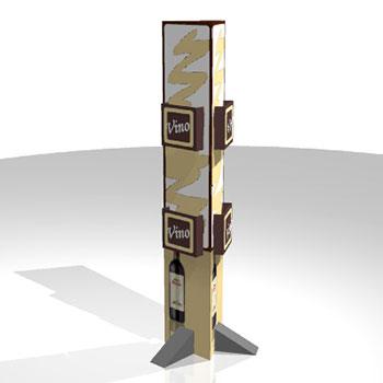 Espositore e portadepliant  trifacciale  in cartone, può essere configurato con tasche portadepliant di diverse misure e con grafiche pubblicitarie stampate  sostituibili.