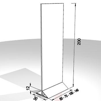Base da 60cm pannello largo 60-70-100-140cm