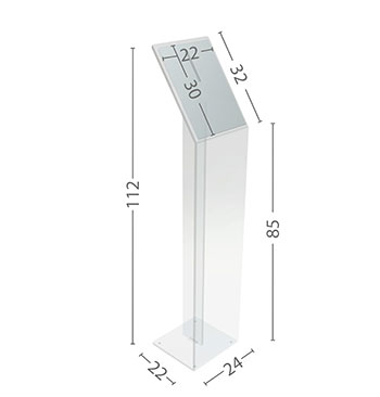 Elegante leggio in plexiglass trasparente da 10 mm, possibilità di personalizzarlo con stampa a colori o forme particolari.