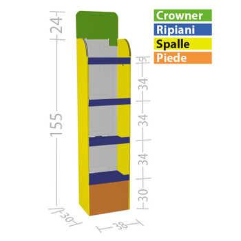 Espositore a ripiani Espositore a ripiani 30x40 cm,  economico e robusto .  Può essere prodotto stampato interamente con la tua grafica o con personalizzazione parziale.. Disponibilein versione a 3 o 4 ripiani.