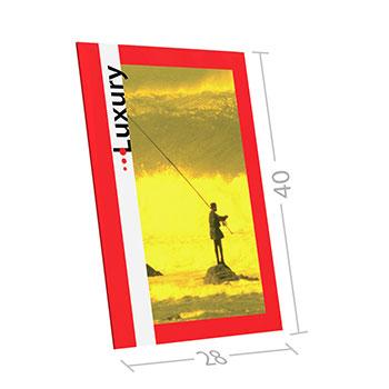 Cartello da banco con piedino in cartone, finitura elegante con bordi risvoltati. Il cartello d abanco luxury è disponibile in diverse misure con finitura lucida od opaca a scelta.