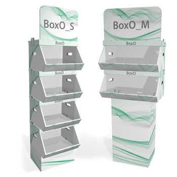 Espositore modulare in cartone microtriplo rivestito, si adatta particolarmente a prodotti sfusi o in sacchetti. Disponibile  in due dimensioni e configurabile a piacere da 2 a 4 cassetti, può essere stampato interamente o solo nella parte superiore.