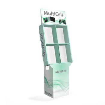 Espositore in cartone con celle modulari per contenere  prodotti, libri, cd e DVD. Stampabile con grafica a piacere