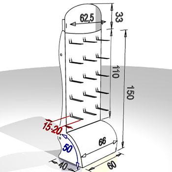 Dimensioni in cm. Posizione e quantià ganci a richiesta