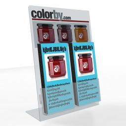 Espositore portadepliant a due tasche in plexiglass trasparente da 3mm.