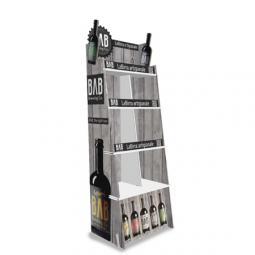 Espositore modello Spigolo modificato e rinforzato per bottiglie di birra, realizzato in cartone microtriplo.   Consegnato smontato in scatola di cartone.