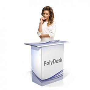 Tavolino personalizzato in PVC polionda Desk a base quadrata in PVC polionda rivestito. Ripiano robusto e leggero spesso 20mm Particolarmente adatto  al montaggio e smontaggio frequente e all'uso in presenza di acqua.
