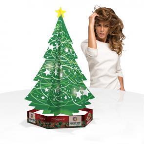Albero natalizio da banco in cartone micoonda la base  può essere usata come portarodotti