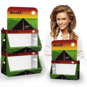 Espositori in cartone sovrapponibili   Espositore Prodotti modulare ;  Cartone microtriplo rivestito  ;   Cassetti con portata di 8kg ;  Stampato o in tinte standard ;  Box S formato 44x32x30cm