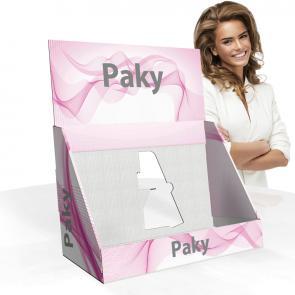 Espositore da banco in cartone, economico e di facile assemblaggio. ; Indicato per esporre piccoli prodotti inscatolati o flaconi.