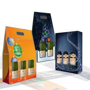 Scatole in microonda per un regalo personalizzato  con la vostra grafica. Due modelli differenti per bottiglie di vino o spumante/champagne. Entrambe con maniglia per essre facilmente trasportate.