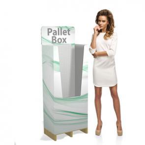 PalletBox personalizzati Espositore prodotti su pallet. Dimensioni standard da 1/4 (60x40cm) e 1/2 (80x60cm) e anche personalizzate a richiesta