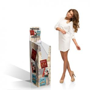 Porta depliant o dispenser per riviste in cartone, comodo ed economico da posizionare a terra.  ;Disponibile stampato o in tinte standard con crowner pubblicitario personalizzato.