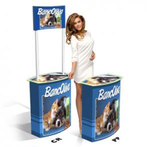Banchetti in caertone Desk  personalizzato in cartone   microonda rivestito, disponibile in versione con e senza crowner pubblicitario.  ; Questo banchetto per promoter, si caratterizza per la forma accattivantee la semplicità di montaggio.