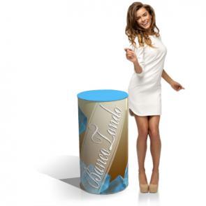 Desk promoter economico Banchetto cartonato  economico , di piccole dimensioni per il trasporto, viene contenuto in una scatola 50x70 cm. ;Particolarmente adatto a presentazioni veloci e frequenti di prodotti di peso contenuto.
