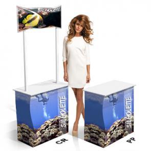 Desk promoter in cartone smontabile   Cartone microonda rivestito  ;  Con Crowner (CR) o senza (PP) ;  Vano posteriore con sportello ;  Facilissimo montaggio e trasporto ;  Completo di scatola in cartone