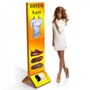 Espositore pubblicitario in cartone  Totem pubblicitari in cartone scatolato, composto da moduli smontabili, offre un grande impatto ed una semplicità di montaggio uniche oltre ad un ingombro di trasporto ridottissimo.