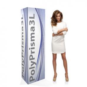 Espositori pubblicitari in PVC polionda  Totem triangolare  in PVC polionda rivestito. Di semplicissimo montaggio, resistente all'acqua, adatto all'applicazione di tasche porta depliant.