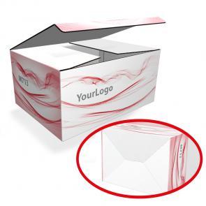 Scatole in cartone con stampa personalizzata Scatola in cartone bianco micro onda E da 1,5 mm, personalizzabile con stampa a colori, misure personalizzate sulle vostre esigenze.